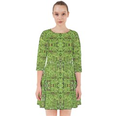 Digital Nature Collage Pattern Smock Dress