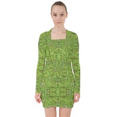 Digital Nature Collage Pattern V Neck Bodycon Long Sleeve Dress