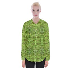 Digital Nature Collage Pattern Womens Long Sleeve Shirt
