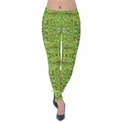 Digital Nature Collage Pattern Velvet Leggings
