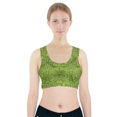 Digital Nature Collage Pattern Sports Bra With Pocket