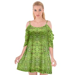 Digital Nature Collage Pattern Cutout Spaghetti Strap Chiffon Dress