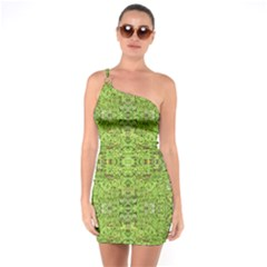 Digital Nature Collage Pattern One Soulder Bodycon Dress