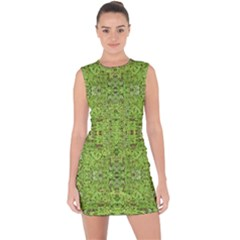 Digital Nature Collage Pattern Lace Up Front Bodycon Dress