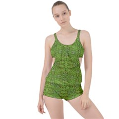 Digital Nature Collage Pattern Boyleg Tankini Set