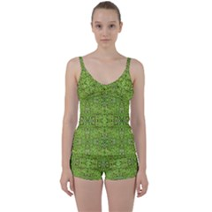 Digital Nature Collage Pattern Tie Front Two Piece Tankini