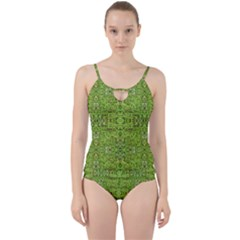 Digital Nature Collage Pattern Cut Out Top Tankini Set