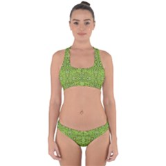 Digital Nature Collage Pattern Cross Back Hipster Bikini Set
