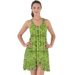 Digital Nature Collage Pattern Show Some Back Chiffon Dress