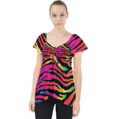 Rainbow Zebra Lace Front Dolly Top