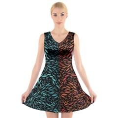 Square Pheonix Blue Orange Red V Neck Sleeveless Skater Dress