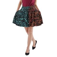 Square Pheonix Blue Orange Red A Line Pocket Skirt