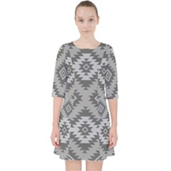 Triangle Wave Chevron Grey Sign Star Pocket Dress