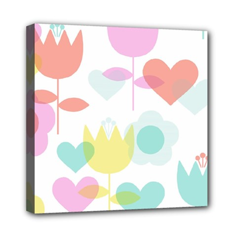 Tulip Lotus Sunflower Flower Floral Staer Love Pink Red Blue Green Mini Canvas 8  X 8