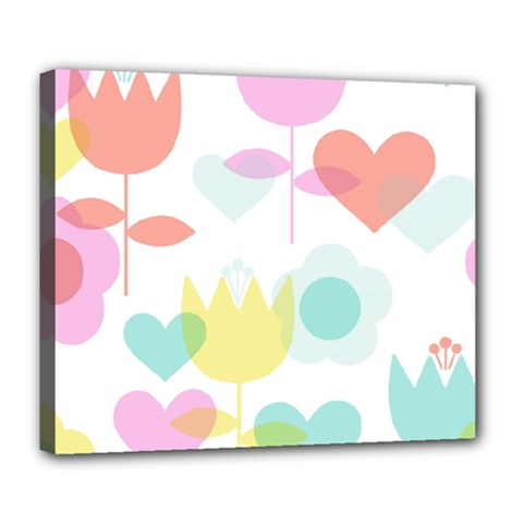 Tulip Lotus Sunflower Flower Floral Staer Love Pink Red Blue Green Deluxe Canvas 24  X 20