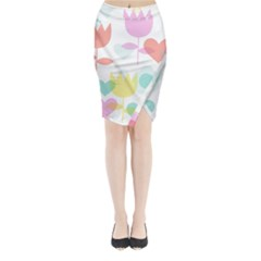 Tulip Lotus Sunflower Flower Floral Staer Love Pink Red Blue Green Midi Wrap Pencil Skirt