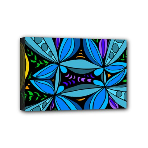 Star Polka Natural Blue Yellow Flower Floral Mini Canvas 6  X 4