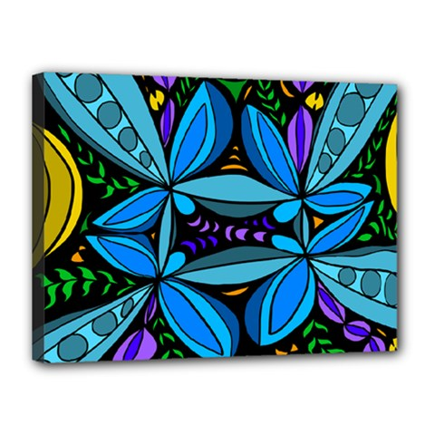 Star Polka Natural Blue Yellow Flower Floral Canvas 16  X 12
