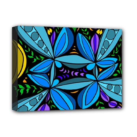 Star Polka Natural Blue Yellow Flower Floral Deluxe Canvas 16  X 12