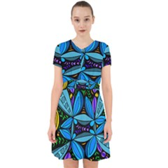 Star Polka Natural Blue Yellow Flower Floral Adorable In Chiffon Dress