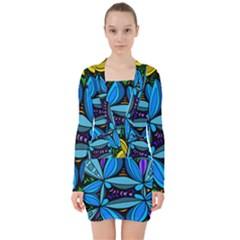 Star Polka Natural Blue Yellow Flower Floral V Neck Bodycon Long Sleeve Dress