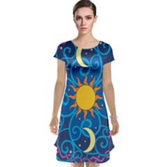 Sun Moon Star Space Vector Clipart Cap Sleeve Nightdress