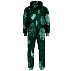 Vector Seamless Pattern With Sea Fauna Seaworld Hooded Jumpsuit (men)