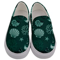 Vector Seamless Pattern With Sea Fauna Seaworld Men s Canvas Slip Ons