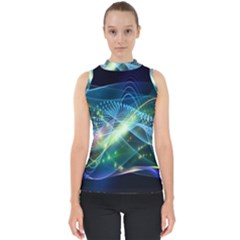 Waveslight Chevron Line Net Blue Shell Top