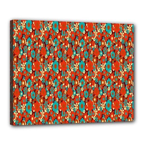 Surface Patterns Bright Flower Floral Sunflower Canvas 20  X 16