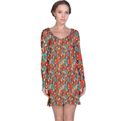 Surface Patterns Bright Flower Floral Sunflower Long Sleeve Nightdress