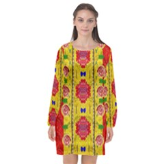 Light Candles And The Fern Will Still Grow In The Summer Long Sleeve Chiffon Shift Dress
