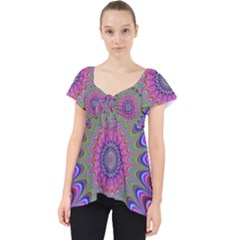 Art Mandala Design Ornament Flower Lace Front Dolly Top