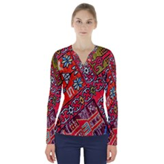 Carpet Orient Pattern V Neck Long Sleeve Top
