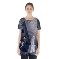 Chicago Skyline Tall Buildings Skirt Hem Sports Top