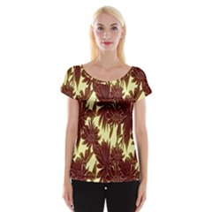 Floral Pattern Background Cap Sleeve Tops