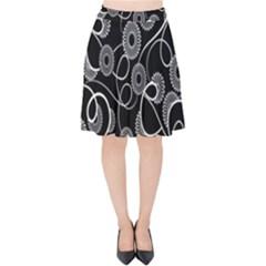 Floral Pattern Background Velvet High Waist Skirt