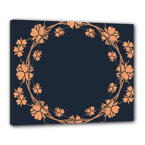 Floral Vintage Royal Frame Pattern Canvas 20  X 16
