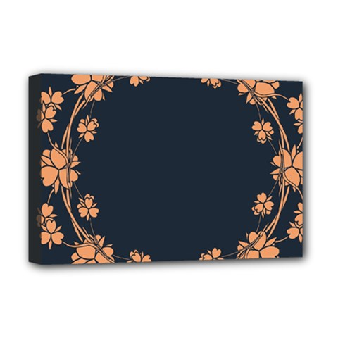 Floral Vintage Royal Frame Pattern Deluxe Canvas 18  X 12