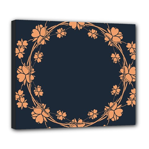 Floral Vintage Royal Frame Pattern Deluxe Canvas 24  X 20