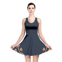 Floral Vintage Royal Frame Pattern Reversible Skater Dress