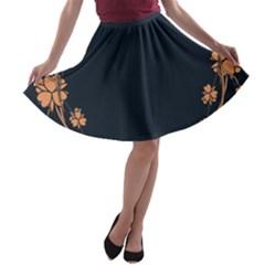 Floral Vintage Royal Frame Pattern A Line Skater Skirt