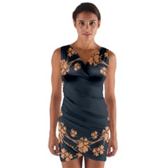 Floral Vintage Royal Frame Pattern Wrap Front Bodycon Dress