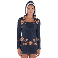 Floral Vintage Royal Frame Pattern Long Sleeve Hooded T Shirt