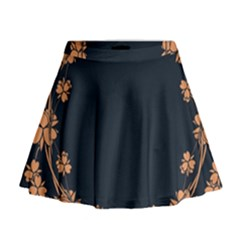 Floral Vintage Royal Frame Pattern Mini Flare Skirt