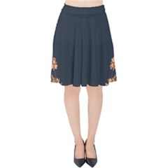 Floral Vintage Royal Frame Pattern Velvet High Waist Skirt