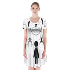 Voodoo Dream Catcher  Short Sleeve V Neck Flare Dress