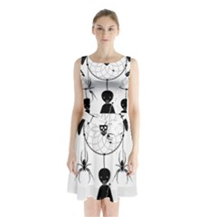 Voodoo Dream Catcher  Sleeveless Waist Tie Chiffon Dress