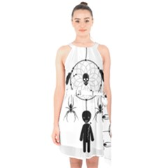 Voodoo Dream Catcher  Halter Collar Waist Tie Chiffon Dress