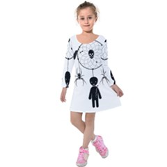 Voodoo Dream Catcher  Kids  Long Sleeve Velvet Dress